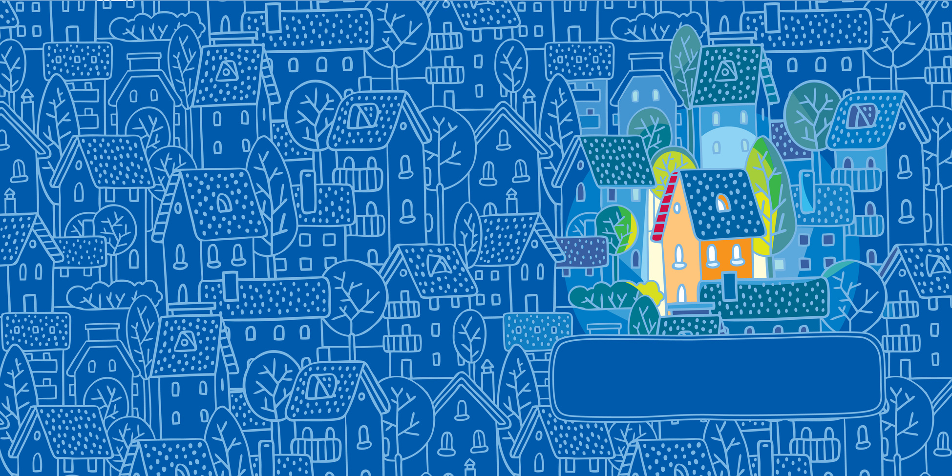 Double sided (bilateral) square greeting card with pattern of with nice color house (sweet home) on monochrome blue pattern background with houses, trees and roofs